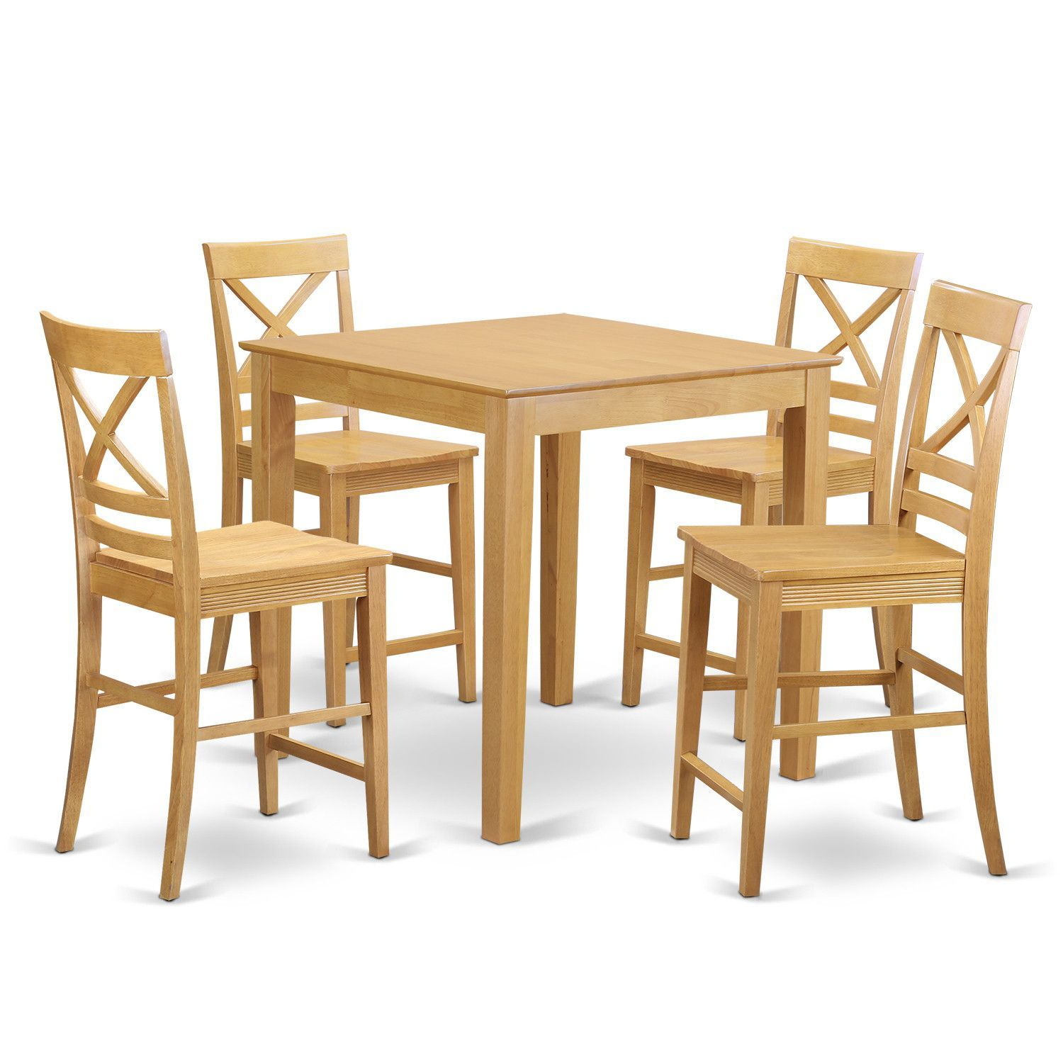 5 – Piece Rubberwood Solid Wood Dining Set | Pub Table With Latest Wes Counter Height Rubberwood Solid Wood Dining Tables (View 4 of 15)