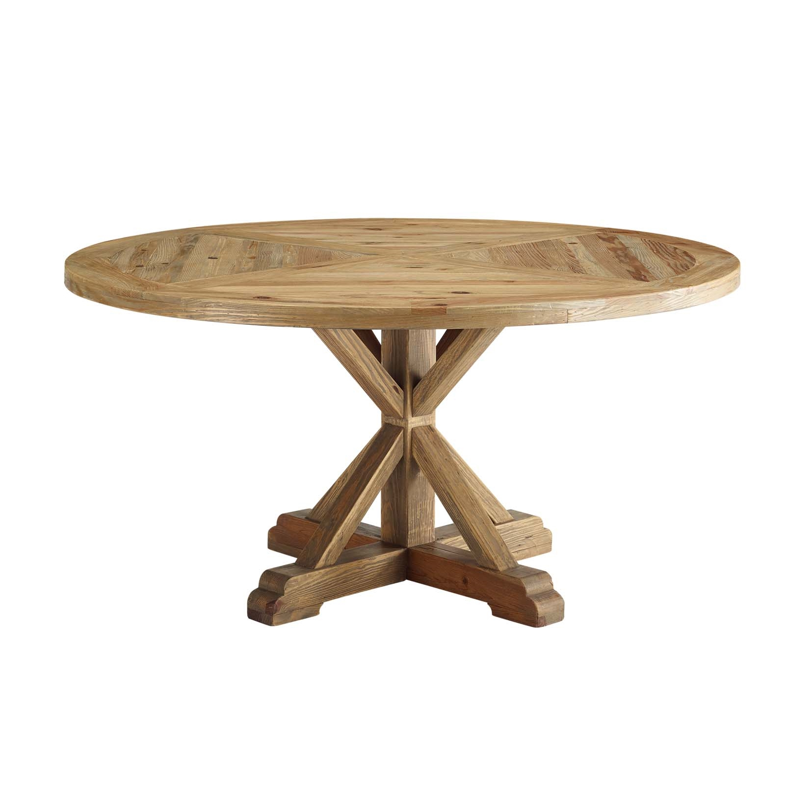"""59"""" Round Pine Wood Dining Table With Carved Pedestal Base Intended For Latest Bineau 35'' Pedestal Dining Tables (View 3 of 15)"""