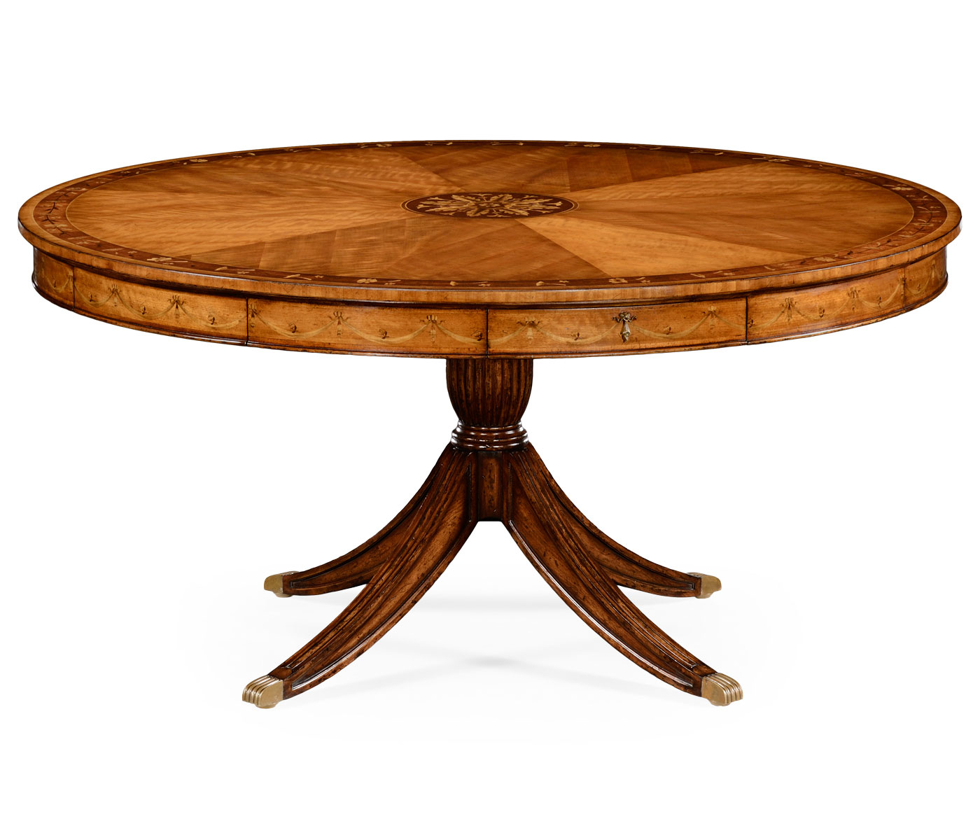 """62"""" Satinwood Pedestal Dining Table With Placemats Inside Latest Sevinc Pedestal Dining Tables (View 5 of 15)"""