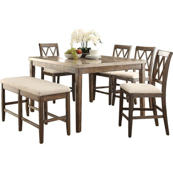 7 Piece Counter Height Dining Set In 2020 | Counter Height With Regard To Current Dawid Counter Height Pedestal Dining Tables (View 3 of 15)