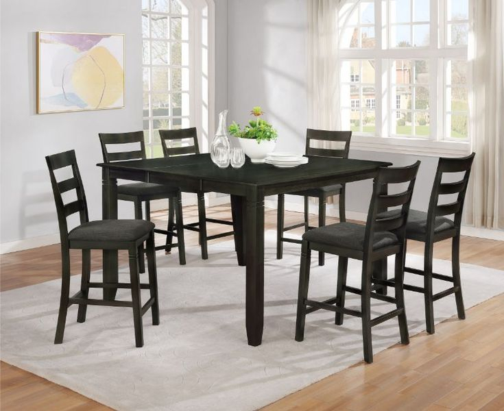 7878 7Pc 7 Pc Winston Porter Charlene Gray Finish Wood Within Most Recently Released Romriell Bar Height Trestle Dining Tables (View 11 of 15)