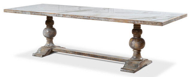 """81"""" W Roberto Dining Table Solid White Marble Top Urn Pertaining To Newest Rhiannon Poplar Solid Wood Dining Tables (View 10 of 15)"""