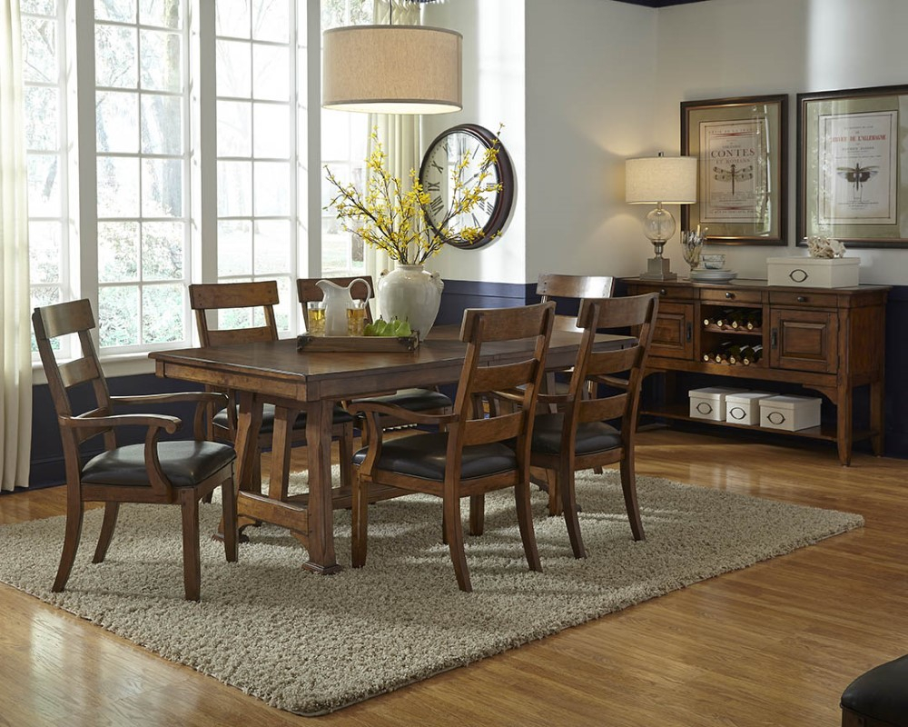 """A America – Ozark 92"""" Trestle Table With 20"""" Butterfly In 2017 Warnock Butterfly Leaf Trestle Dining Tables (View 5 of 15)"""