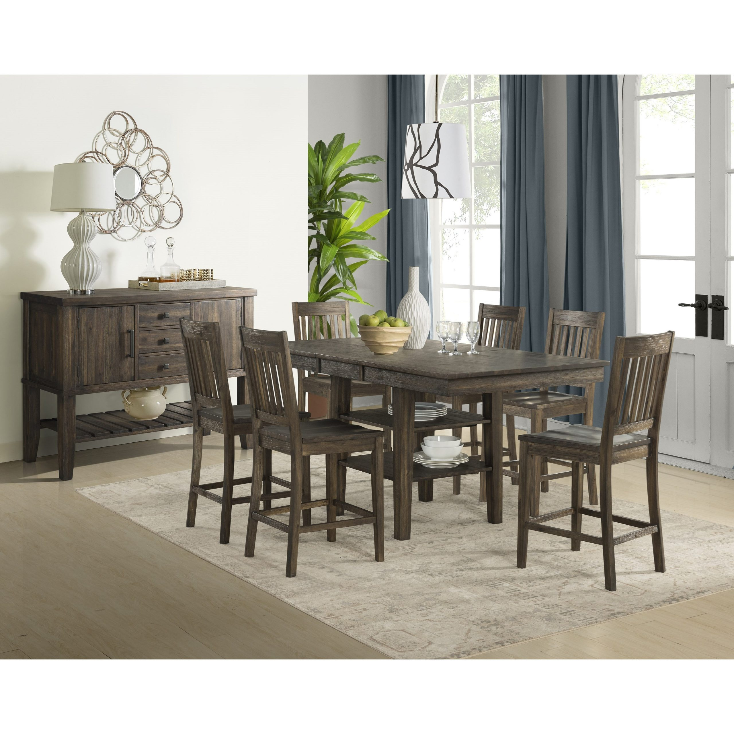 Aamerica Huron Transitional Solid Wood Counter Height In Latest Dawid Counter Height Pedestal Dining Tables (View 2 of 15)