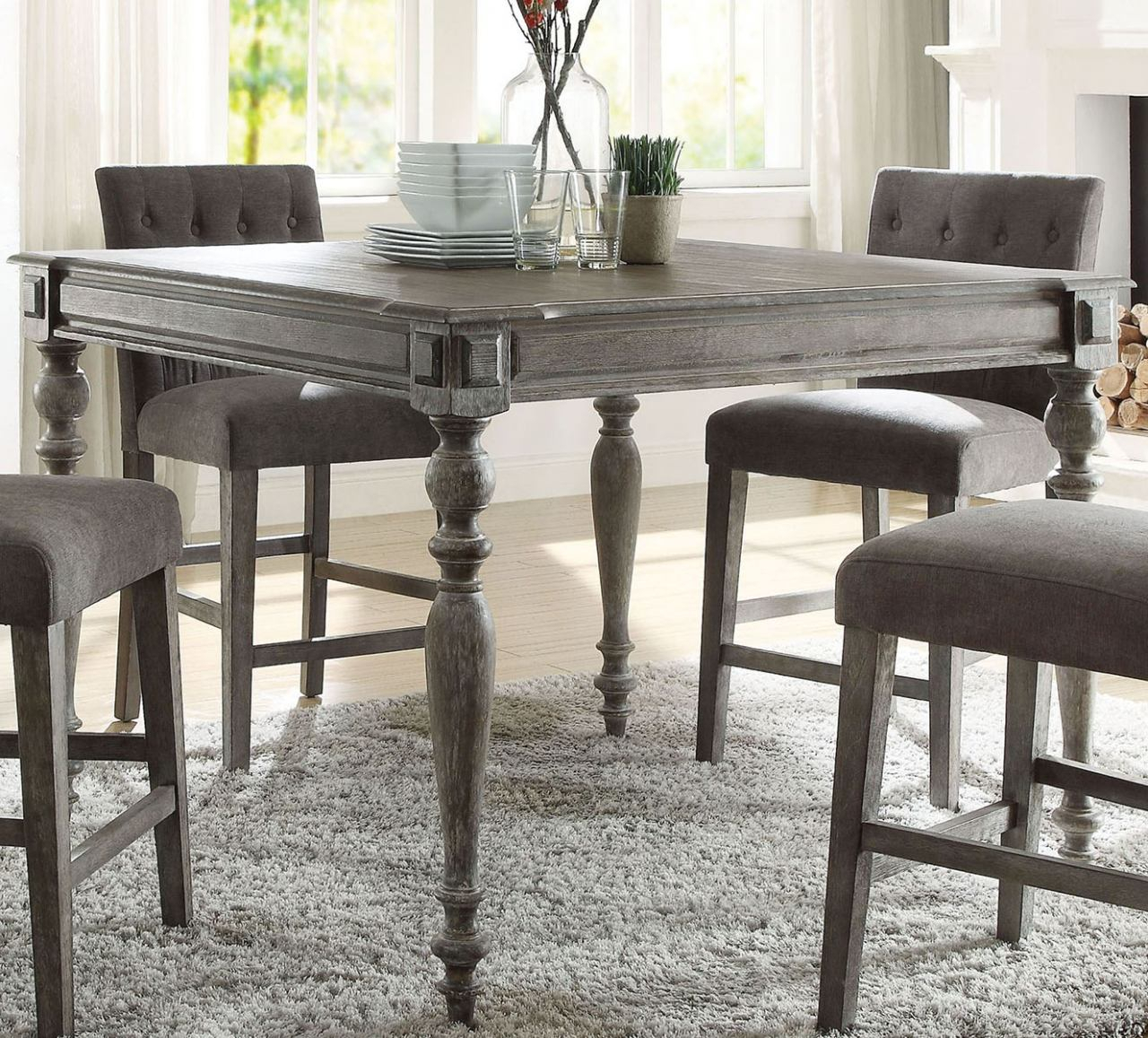 Acme Furniture Godeleine Square Counter Height Table In Regarding Most Recently Released Hearne Counter Height Dining Tables (View 14 of 15)