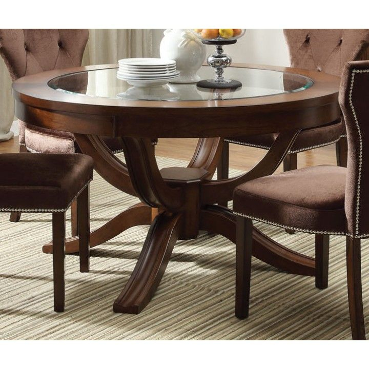 Acme Kingston Glass Top Round Pedestal Dining Table In Regarding Most Up To Date Corvena 48'' Pedestal Dining Tables (View 3 of 15)