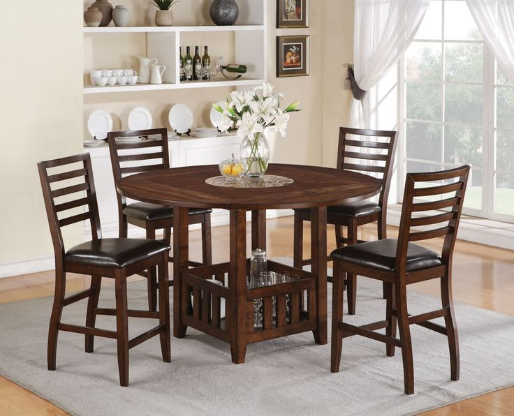 Acme Theodora 5 Pc Drop Leaf Counter Height Dining Table Throughout 2017 Andrelle Bar Height Pedestal Dining Tables (Photo 3 of 15)