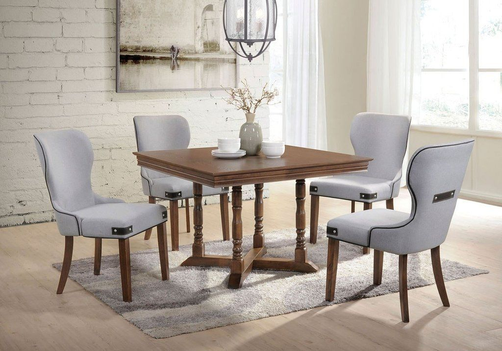 Acme Wilfried 71825 5 Piece Dining Set In Light Gray For Best And Newest Dawid Counter Height Pedestal Dining Tables (View 8 of 15)
