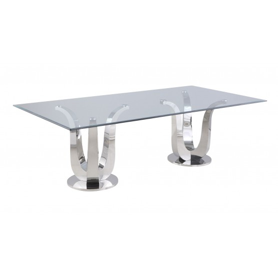 Adelle Dining 47 X 94 Rectangular Glass Dining Table W Regarding Most Recent Wilkesville 47'' Pedestal Dining Tables (View 14 of 15)