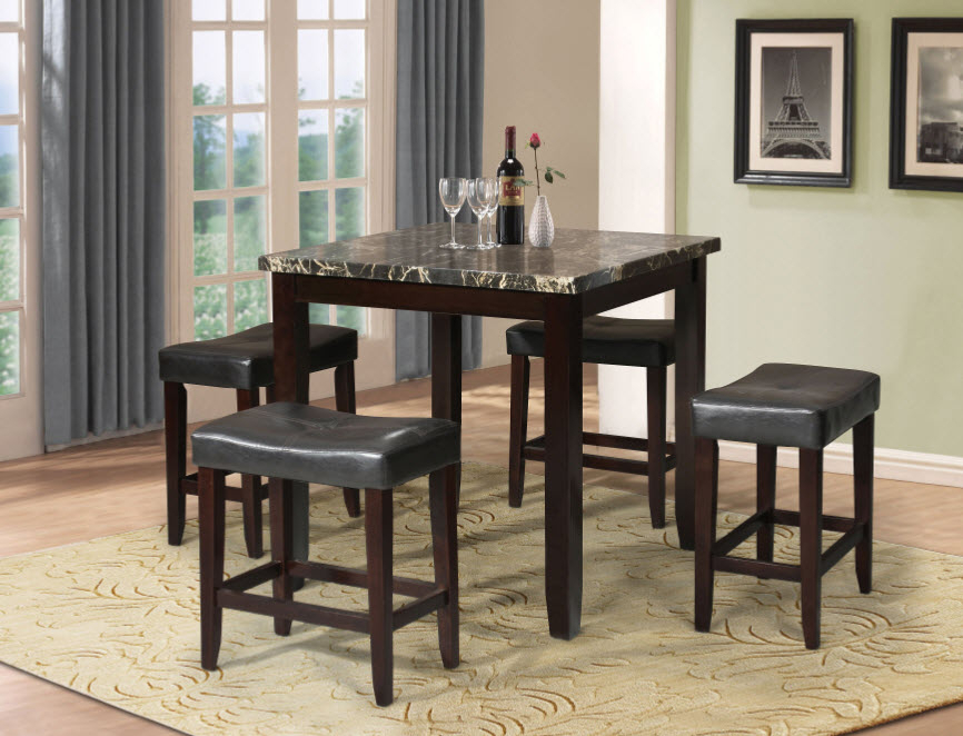 Ainsley 5 Piece Complete Counter Height Dining Table Set In Most Popular Overstreet Bar Height Dining Tables (View 14 of 15)