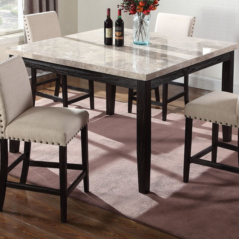 Alcott Hill Wilber Marble Counter Height Dining Table Regarding 2017 Andreniki Bar Height Pedestal Dining Tables (View 9 of 15)