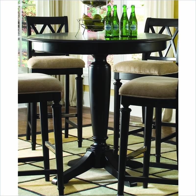 American Drew Camden Black Bar Height Pedestal Table – 919 For 2018 Counter Height Pedestal Dining Tables (View 8 of 15)