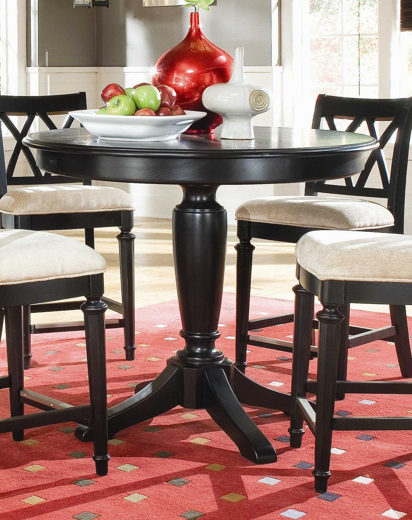 American Drew Camden Dark Black Round Counter Height 42 For 2018 Nakano Counter Height Pedestal Dining Tables (View 15 of 15)