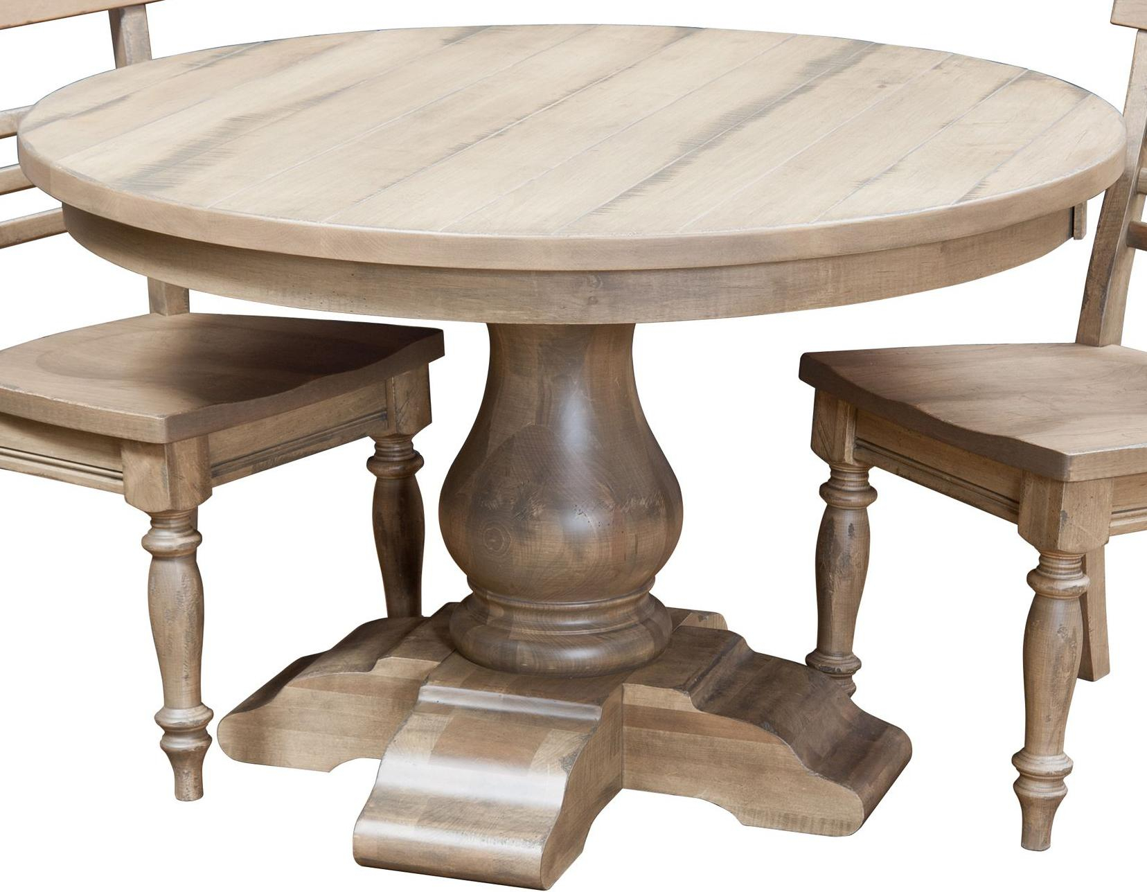 """Amish Impressionsfusion Designs Wellington 48"""" Round In Recent Exeter 48'' Pedestal Dining Tables (View 8 of 15)"""