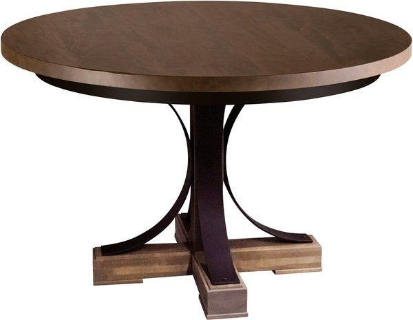 """Amish Studio 48"""" Round Dining Table – Quick Ship (With For Recent Monogram 48'' Solid Oak Pedestal Dining Tables (View 2 of 15)"""