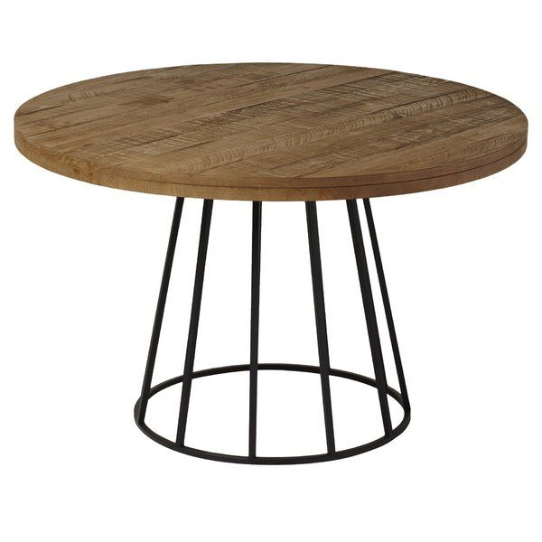 An Open Metal Base Pairs With A Solid Pine Top To Round Inside Newest Finkelstein Pine Solid Wood Pedestal Dining Tables (Photo 15 of 15)