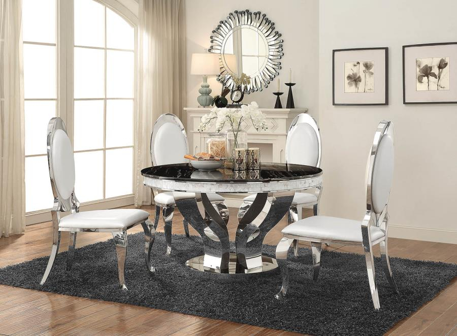 Anchorage Faux Marble And Chrome Stainless Steel 5 Piece Regarding Most Current Naz  (View 6 of 15)