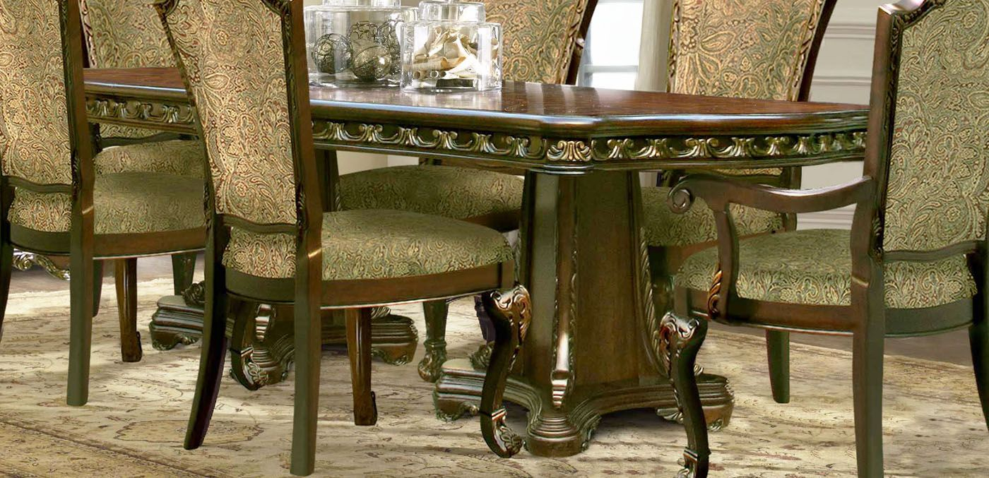 Andrea Traditional Cherry Double Pedestal Rectangular Pertaining To Current 47'' Pedestal Dining Tables (View 8 of 15)