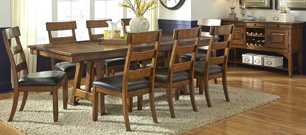 Annie Oakley'S Wood Furniture Inside 2018 Minerva 36'' Pine Solid Wood Trestle Dining Tables (View 11 of 15)