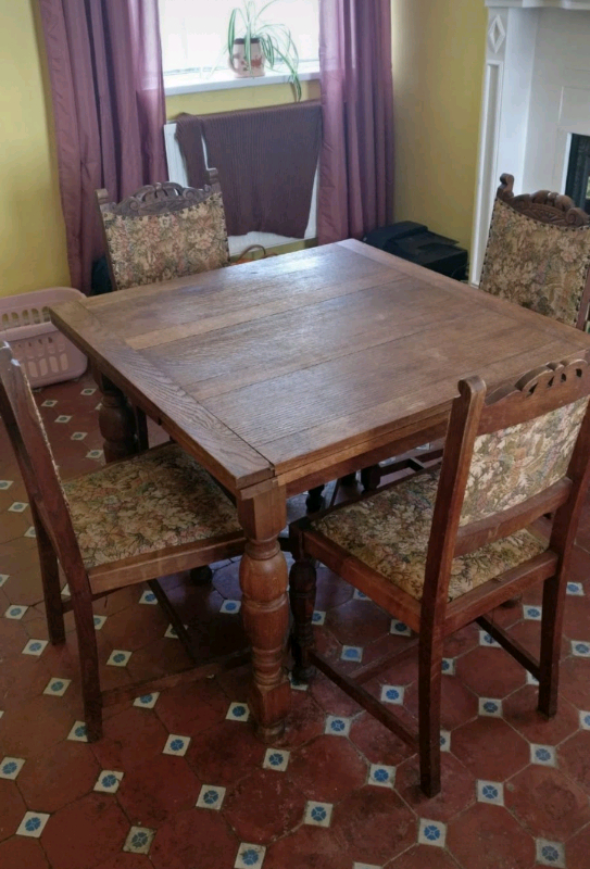 Antique Oak Extendable Dining Table And 4 Chairs | In For 2018 Kayleigh (View 13 of 15)