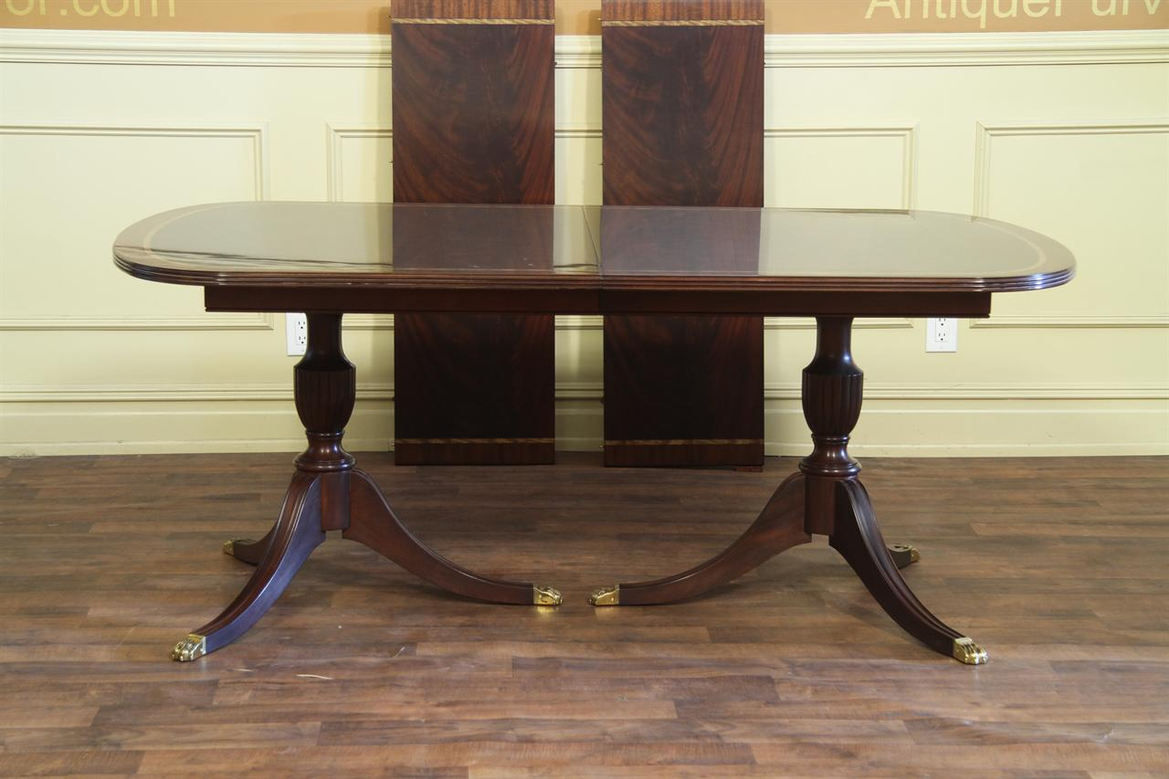 Antique Style Double Pedestal Mahogany Dining Table For Sale Throughout Most Current Dawna Pedestal Dining Tables (View 5 of 15)