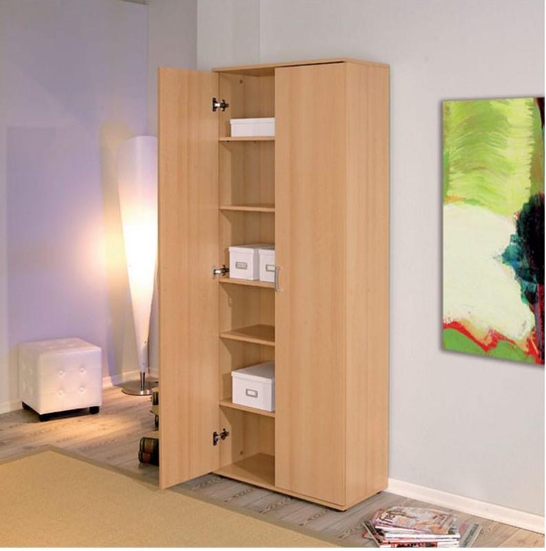 """Armoire Bois Melaminé Hêtre Mat 2 Portes Konati 70 Cm For 2017 Mode 72"""" L Breakroom Tables (View 3 of 15)"""