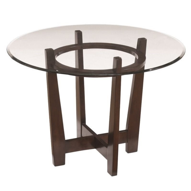 Ashley Charrell Glass Round Dining Table In Medium Brown Inside Most Recently Released Collis Round Glass Breakroom Tables (View 14 of 15)