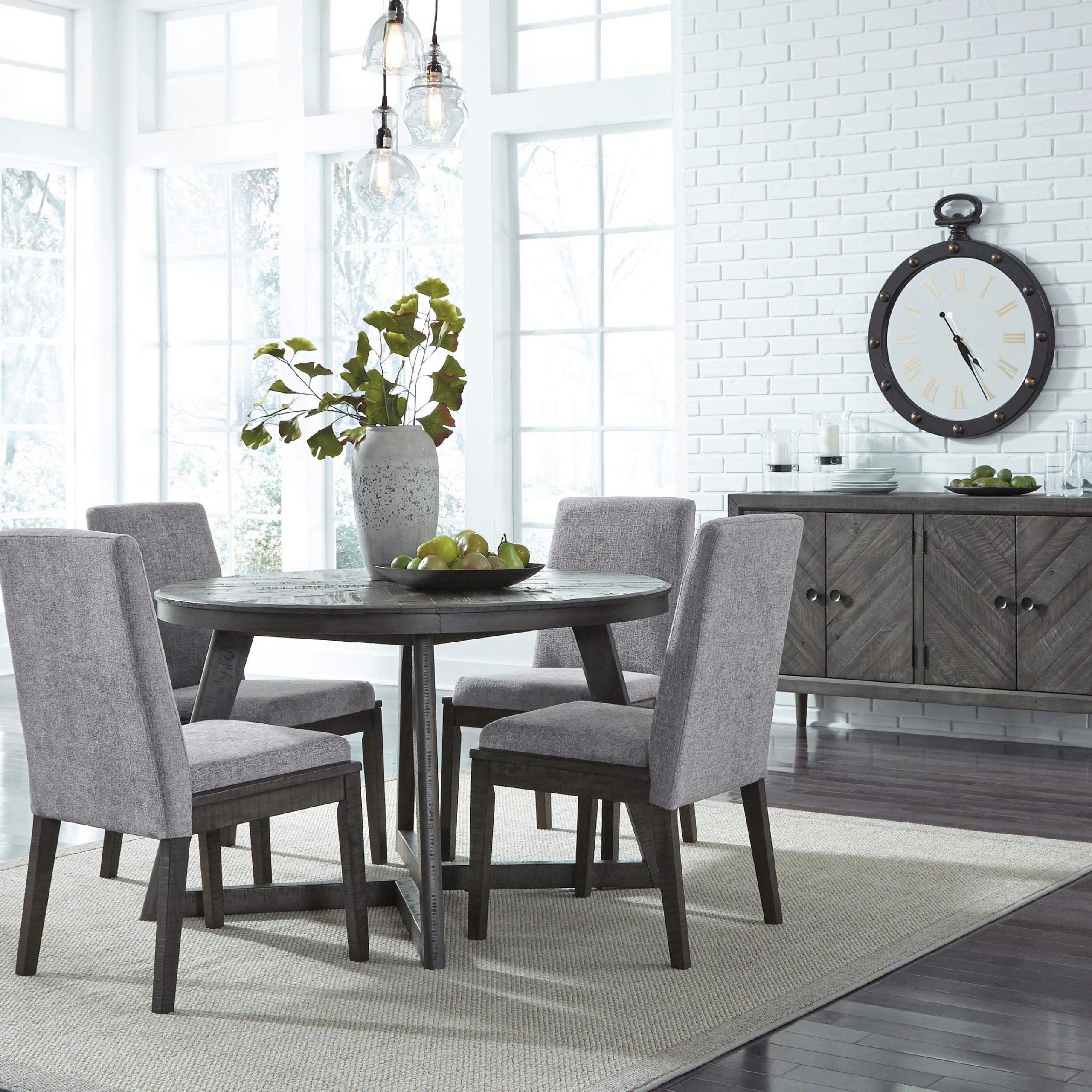 Ashley Flaybern D595 Dining Room Set 6Pcs In Brown (D595 Intended For Most Recent Eleni 35'' Dining Tables (View 4 of 15)