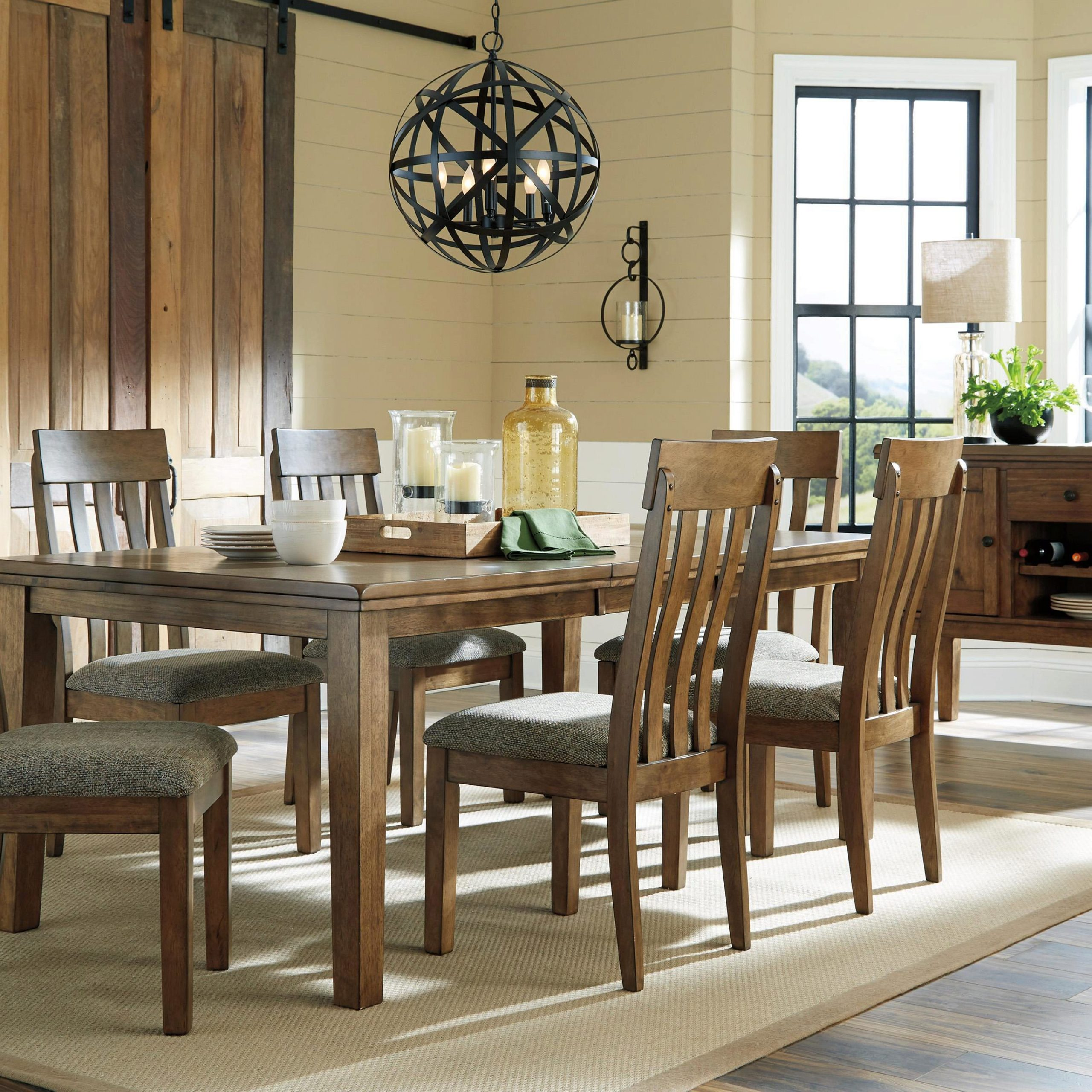 Ashley Flaybern D595 Dining Room Set 8Pcs In Brown (D595 Intended For 2018 Benji 35'' Dining Tables (View 15 of 15)