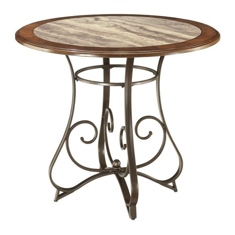 Ashley Hopstand Round Counter Height Faux Marble Dining Throughout Most Recently Released Abby Bar Height Dining Tables (View 12 of 15)