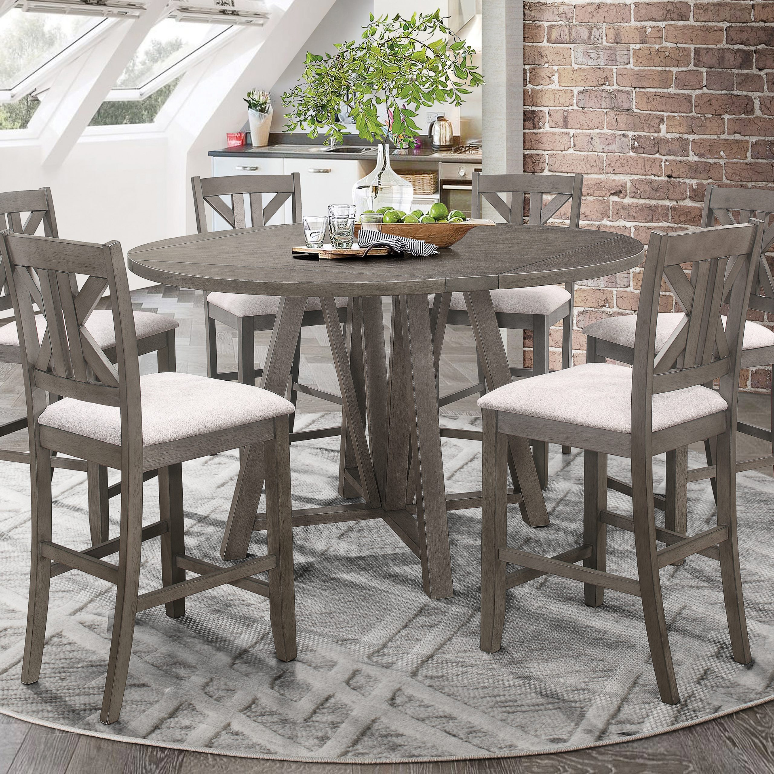 Athens Round Counter Height Table With Drop Leaf Barn Grey For 2018 Eduarte Counter Height Dining Tables (View 12 of 15)