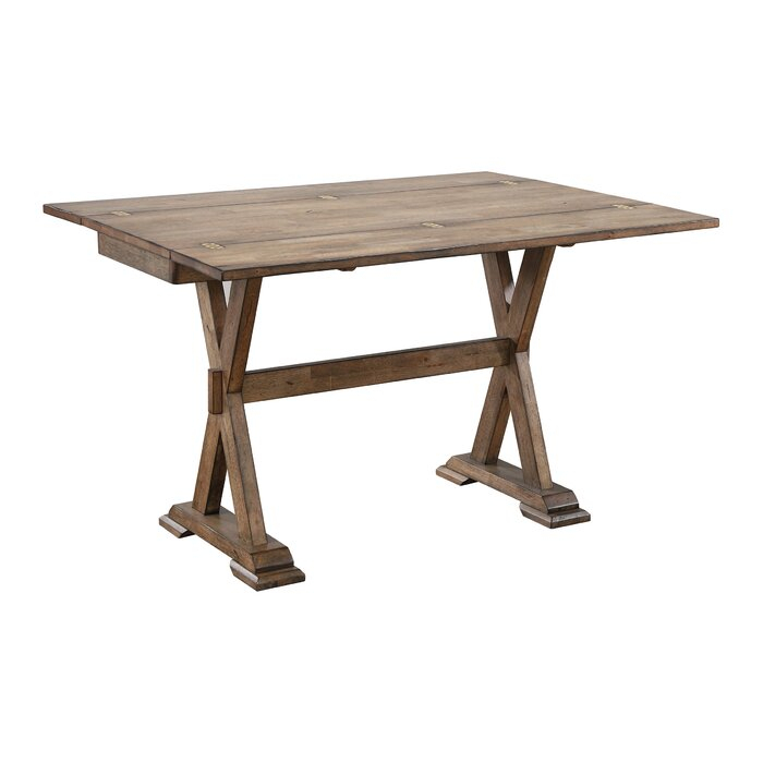 Featured Image of Villani Drop Leaf Rubberwood Solid Wood Pedestal Dining Tables