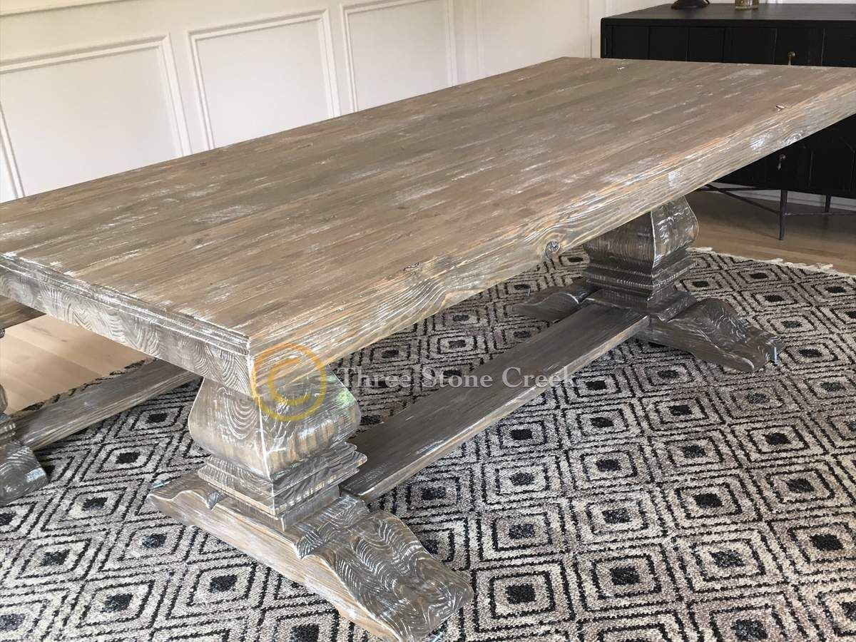 """Baluster Double Pedestal Trestle With 3"""" Top And Rustic Intended For Latest Nashville 40'' Pedestal Dining Tables (View 6 of 15)"""