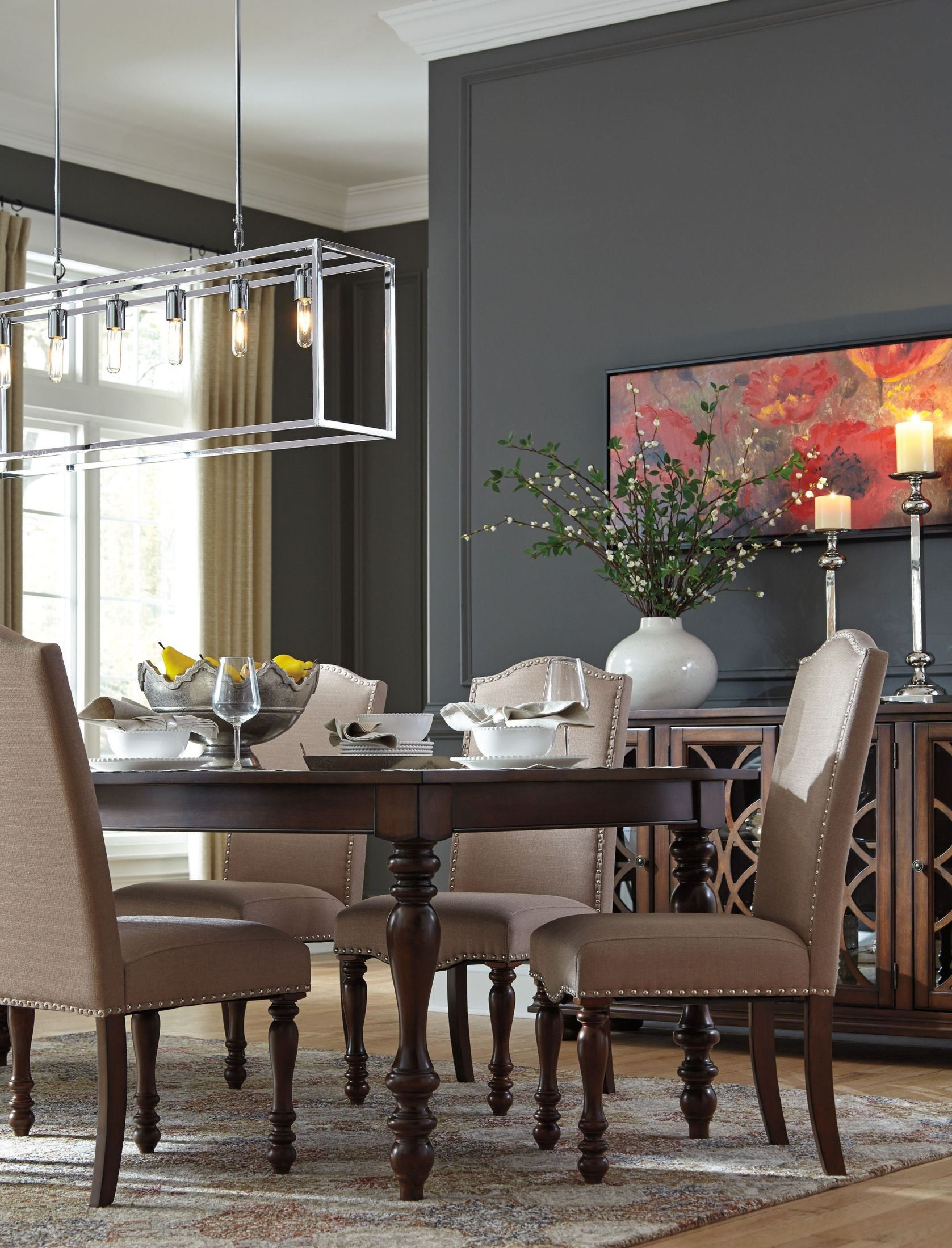 Baxenburg Brown Extendable Rectangular Dining Table, D506 Within Most Current Baring 35'' Dining Tables (View 9 of 15)
