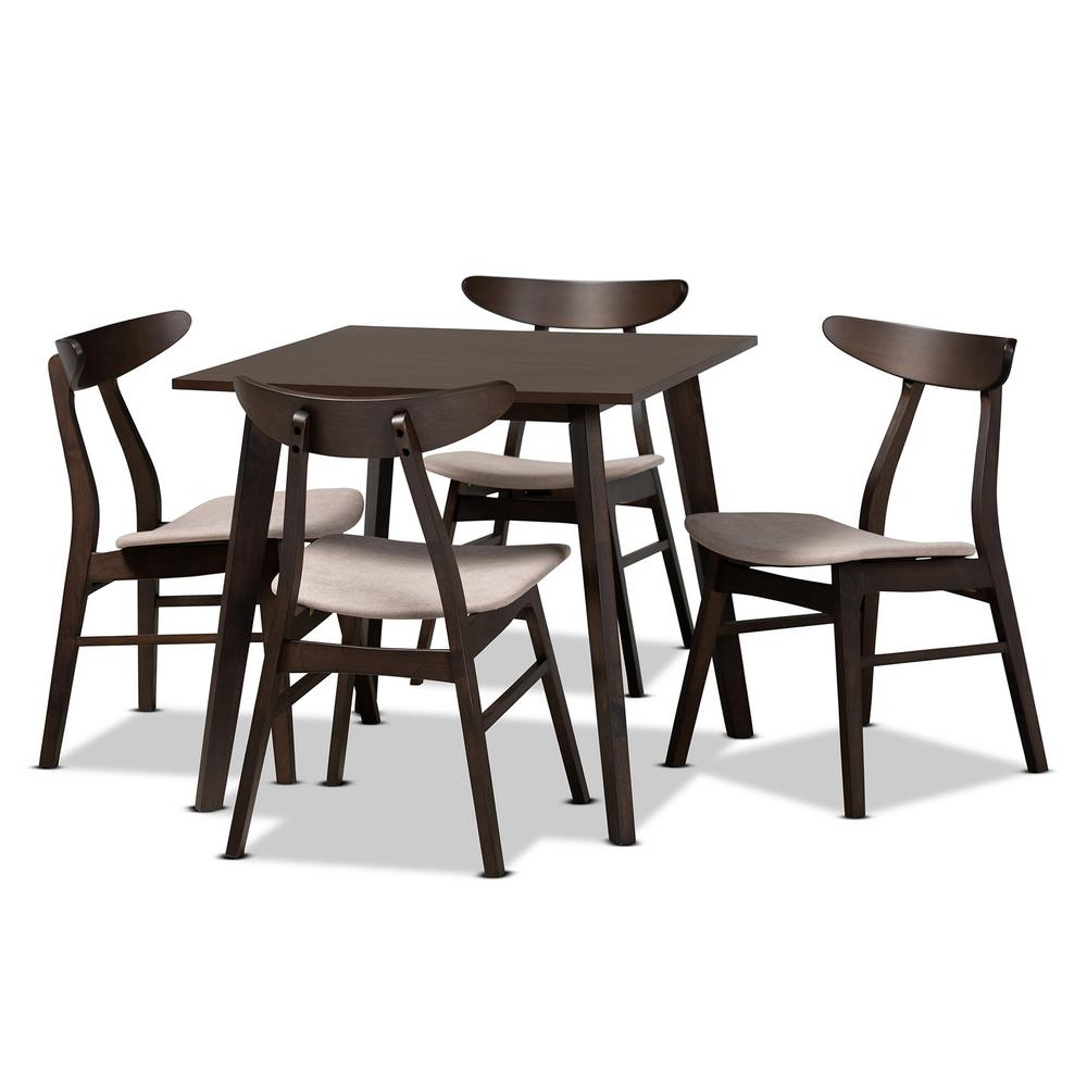 Baxton Studio Britte 5 Piece Beige Upholstered Wood Dining With Most Recently Released Yaritza (View 12 of 15)