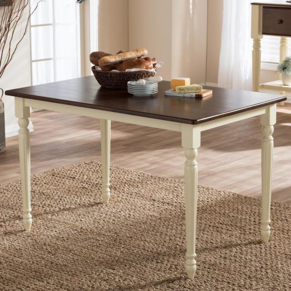 Baxton Studio Napoleon Medium Brown Finished Wood Dining With Newest Corrigan Studio Fawridge Dining Tables (View 4 of 15)