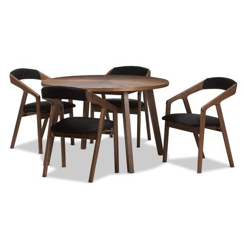 Baxton Studio Wendy Black Dining Set With Round Dining (29 Pertaining To Most Recently Released Corrigan Studio Fawridge Dining Tables (Photo 5 of 15)