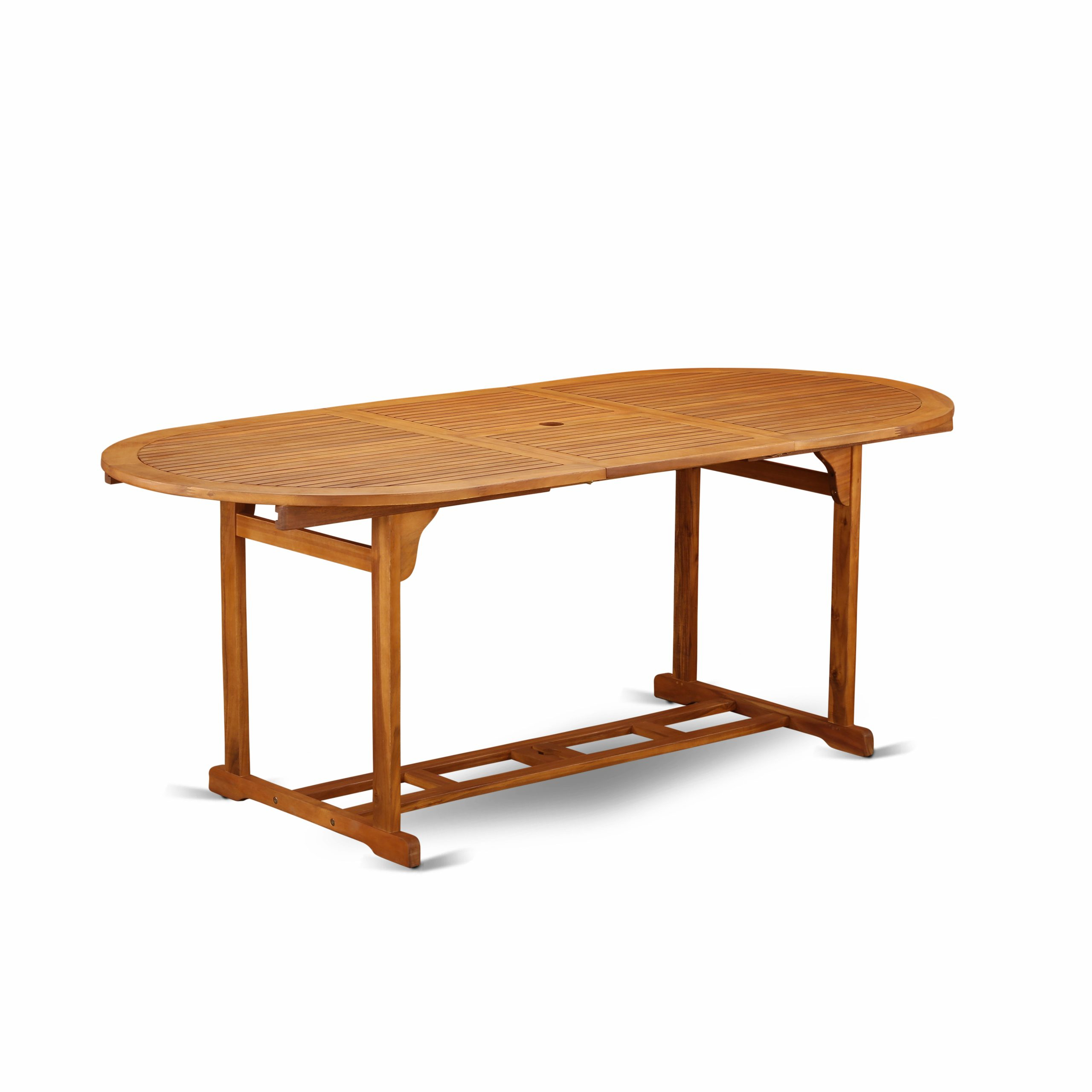 Bbstxna Oval Terrace Acacia Solid Wood Dining Table In Current Folcroft Acacia Solid Wood Dining Tables (View 2 of 15)