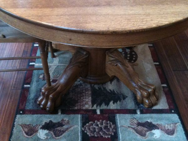Beautiful Antique Tiger Oak, Claw Foot Round Pedestal Inside Most Popular Larkin  (View 4 of 15)