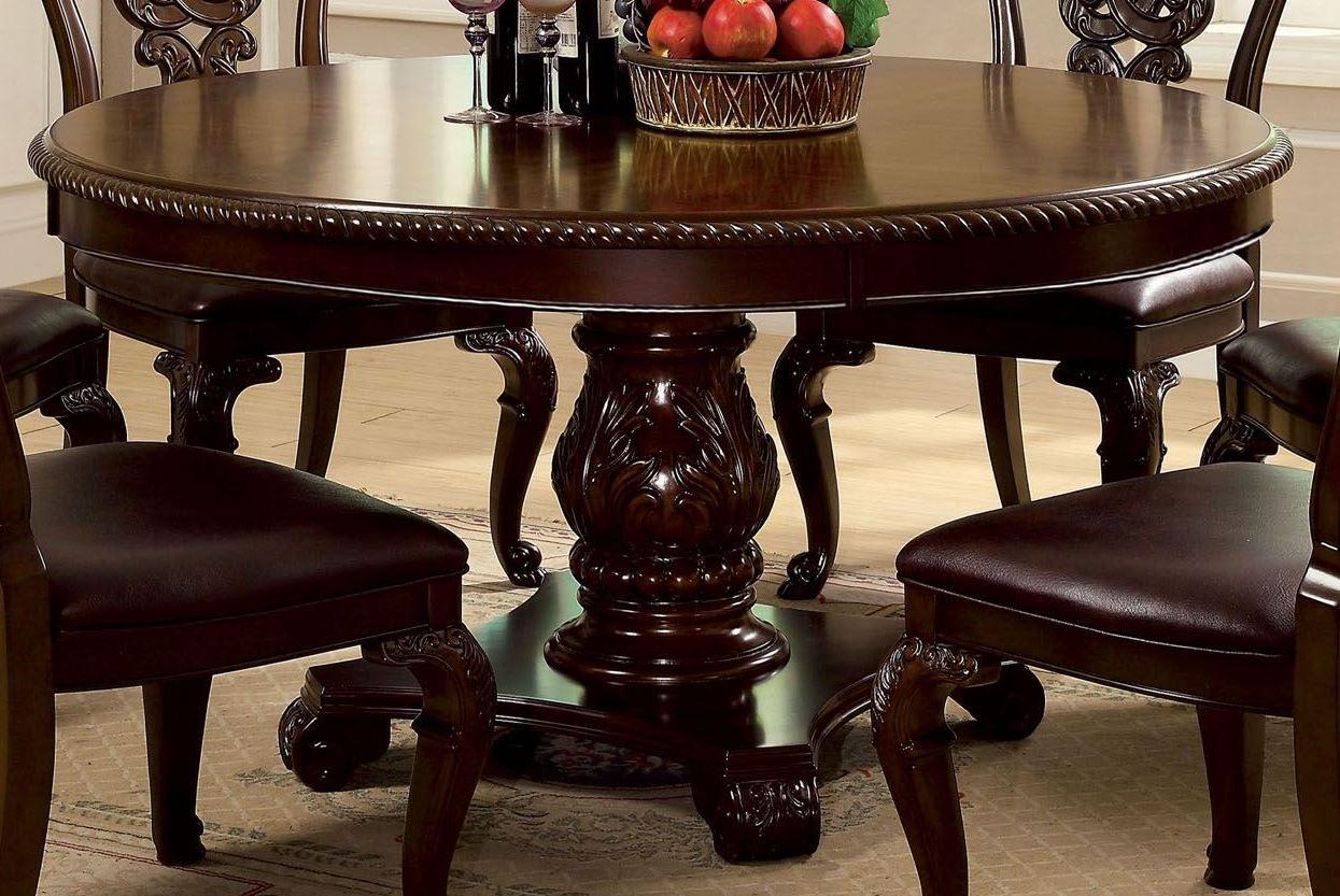 Bellagio Brown Cherry Round Pedestal Dining Table From Within Latest 47'' Pedestal Dining Tables (View 5 of 15)
