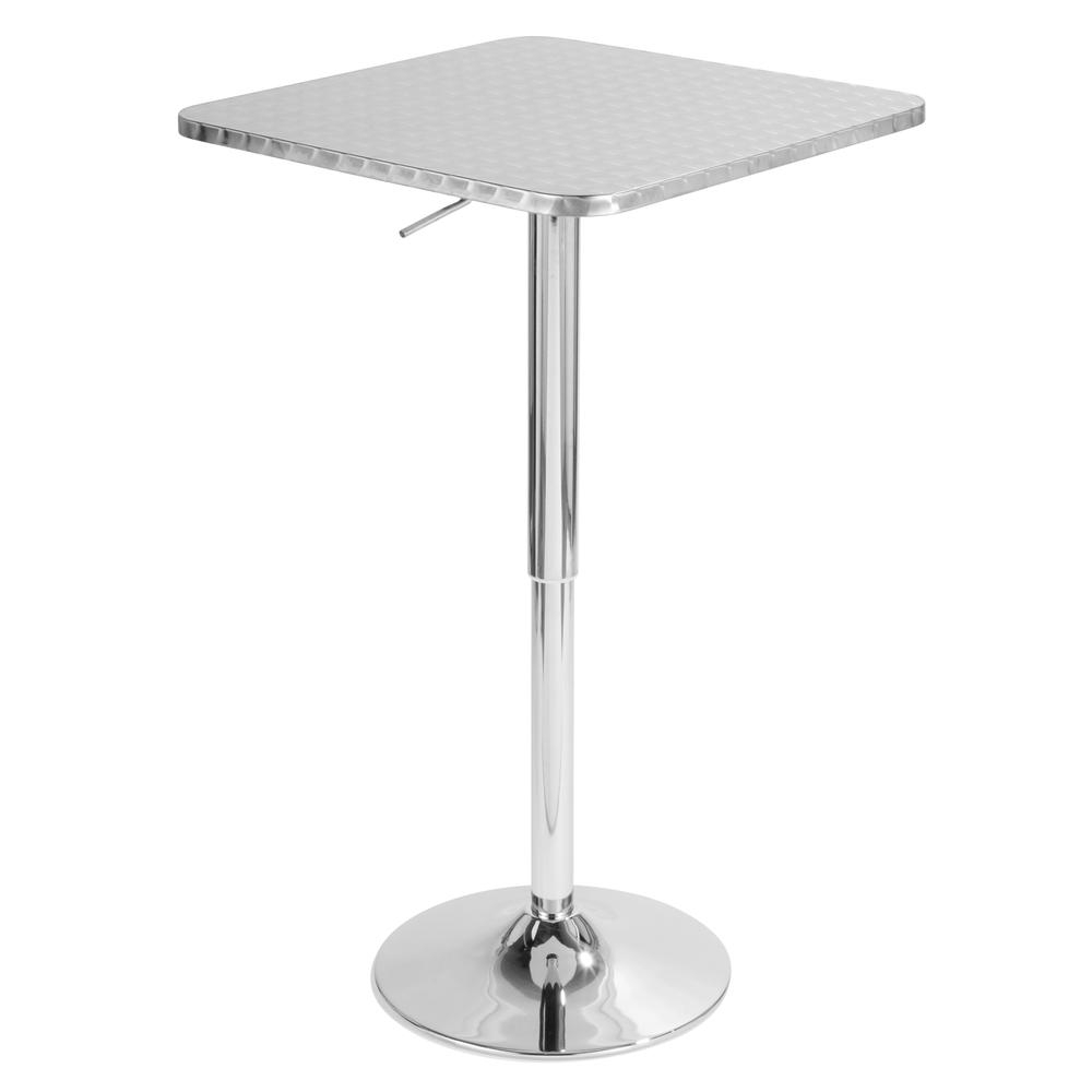 """Bistro Height Adjustable Bar Table – Square, Silver In Most Up To Date Bentham 47"""" L Round Stone Breakroom Tables (View 13 of 15)"""