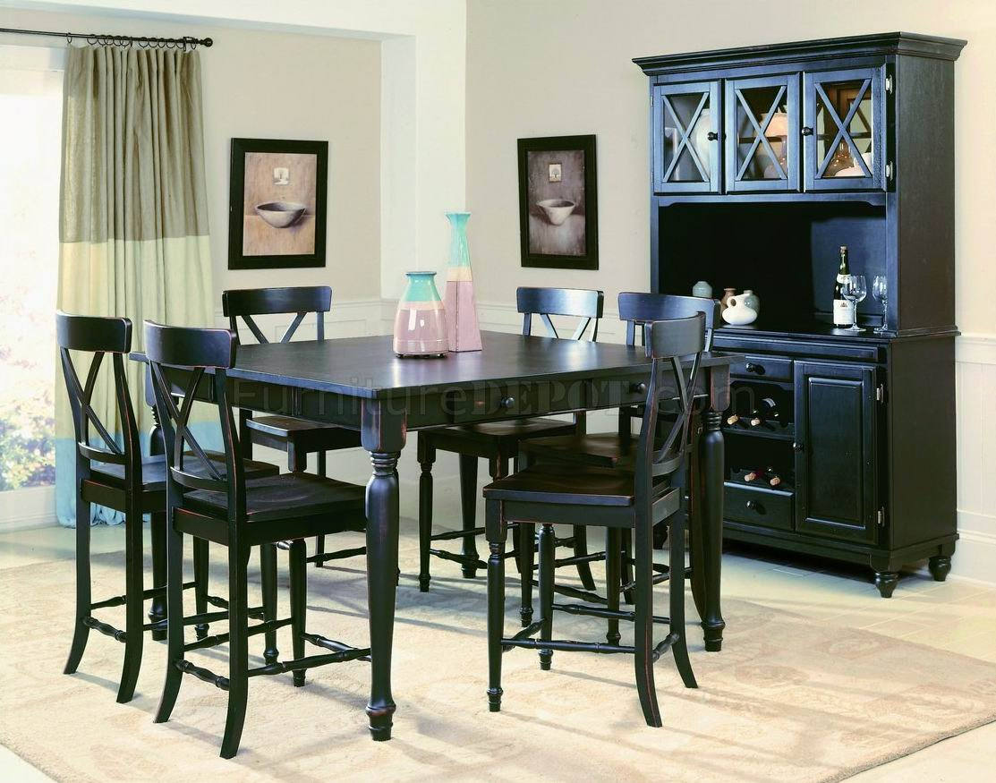 Black Finish Modern Counter Height Dining Table W/Optional Throughout Latest Andrenique Bar Height Dining Tables (View 9 of 15)