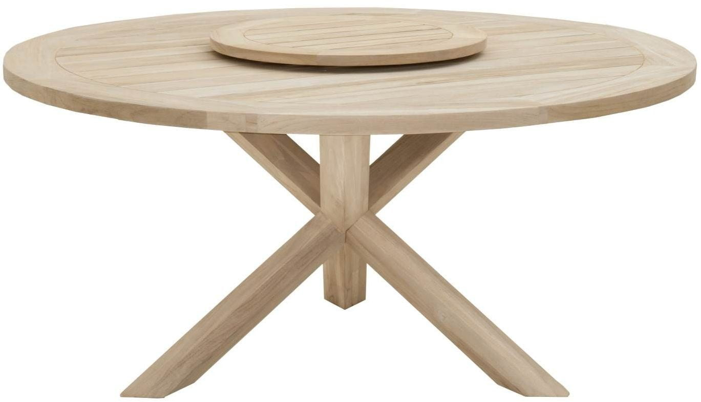 """Boca Gray Teak 63"""" Round Outdoor Dining Table With Lazy With Most Up To Date Bekasi 63'' Dining Tables (View 5 of 15)"""