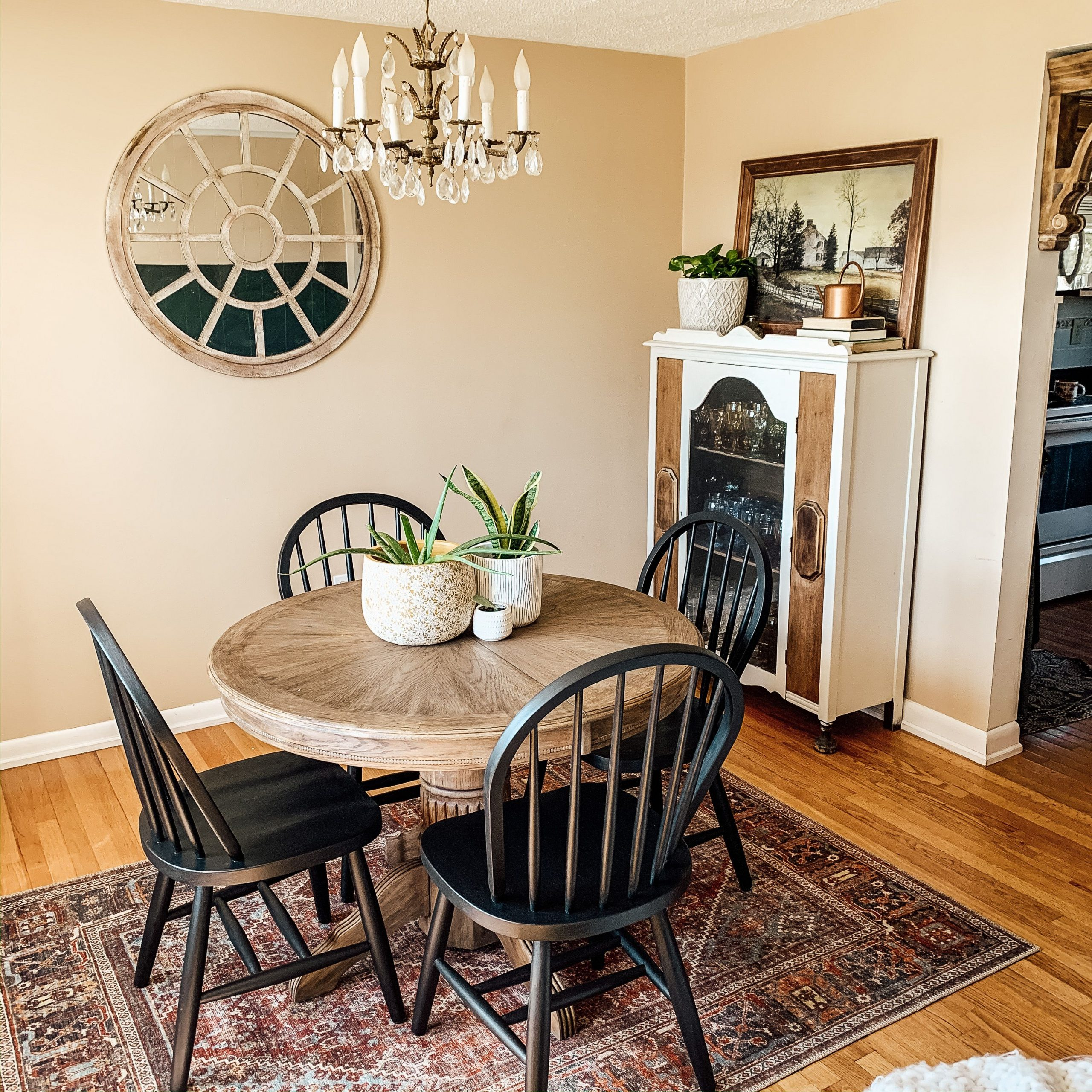 Boho Dining Room – Round Table, Black Chairs, Vintage With Regard To Most Recent Steven 39'' Dining Tables (View 9 of 15)
