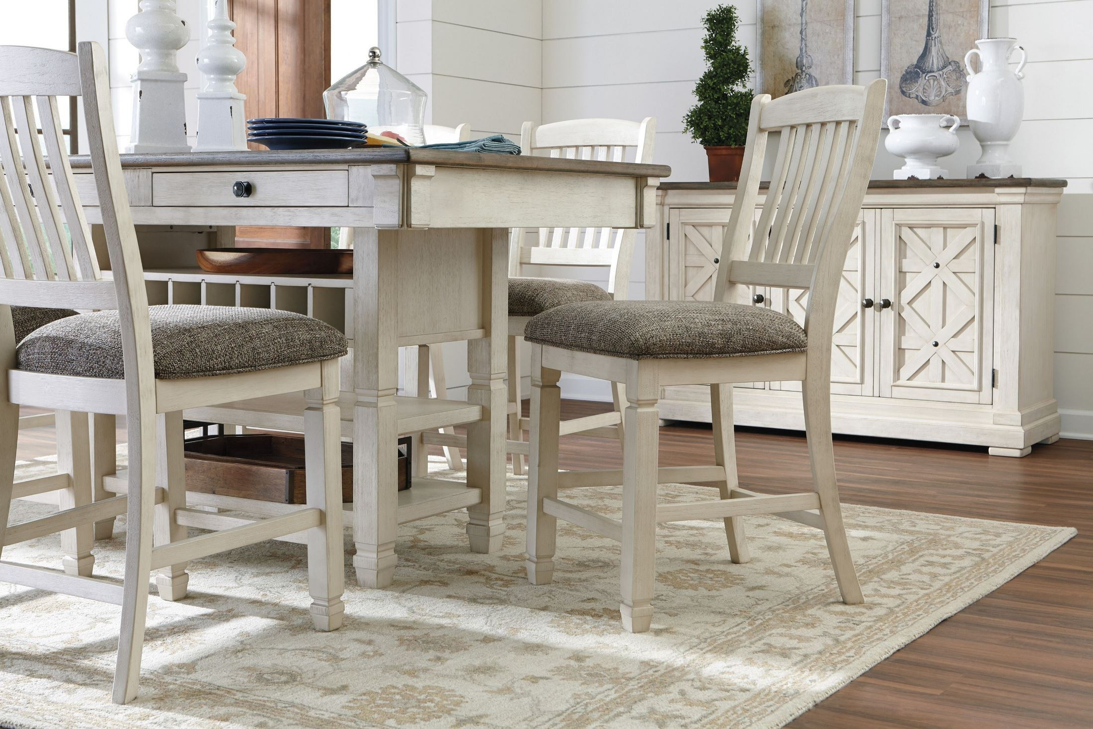 Bolanburg White And Gray Rectangular Counter Height Dining In Most Popular Andrenique Bar Height Dining Tables (View 15 of 15)