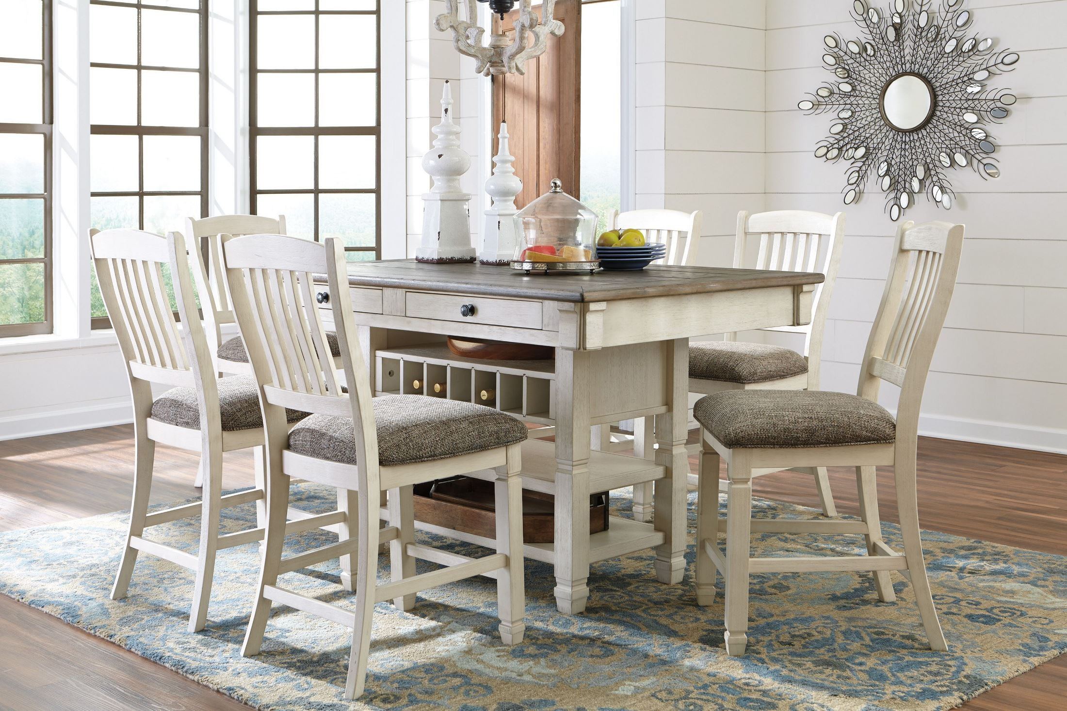 Bolanburg White And Gray Rectangular Counter Height Dining Intended For Best And Newest Abby Bar Height Dining Tables (View 15 of 15)