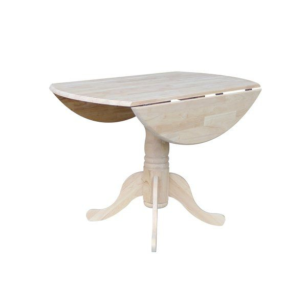 Boothby Drop Leaf Rubberwood Solid Wood Pedestal Dining With Regard To Best And Newest Rubberwood Solid Wood Pedestal Dining Tables (View 6 of 15)