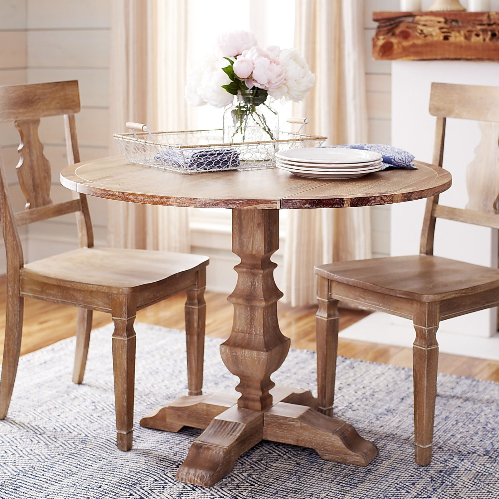 Bradding Natural Stonewash Round Drop Leaf Dining Table Throughout Most Up To Date Boothby Drop Leaf Rubberwood Solid Wood Pedestal Dining Tables (View 15 of 15)