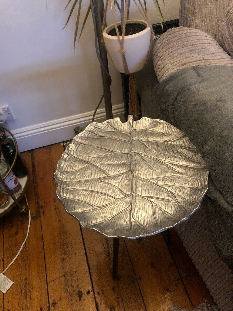 Brand New Tk Maxx Leaf Design Side Table, Silver / Grey Intended For 2017 Kayleigh (View 12 of 15)