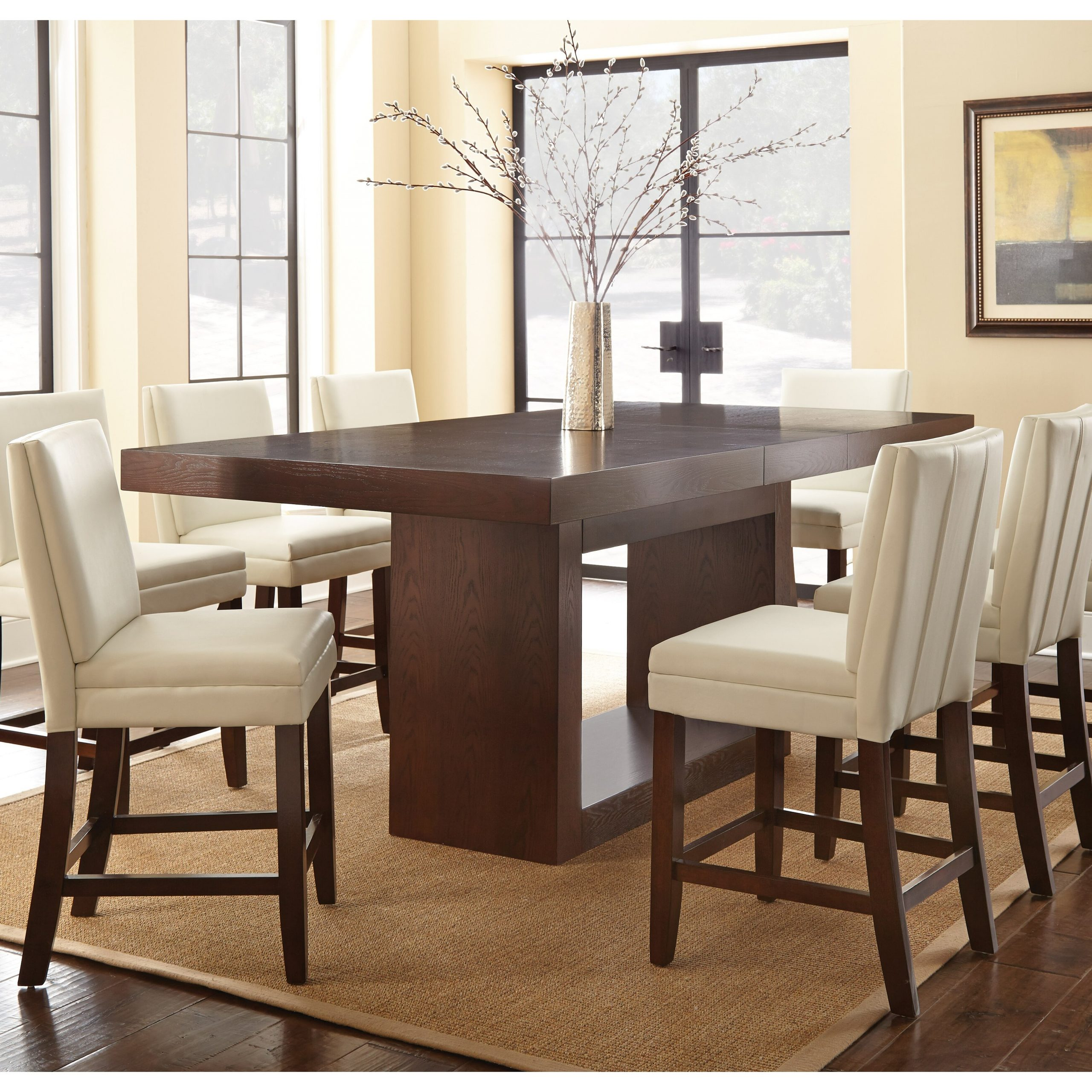 Featured Image of Romriell Bar Height Trestle Dining Tables
